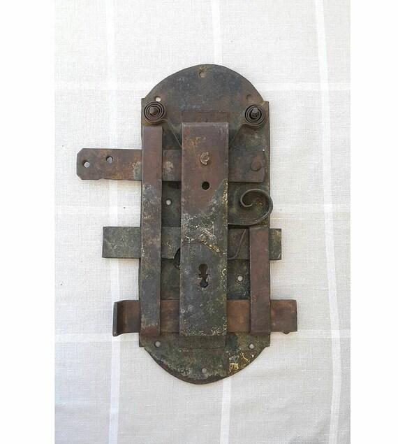 Antique door lock Hand forged iron large door latch lock Door hardware  Rustic home decor Industrial Collectible Rusty Salvaged Door bolt from ... - Antique Door Lock Hand Forged Iron Large Door Latch Lock Door