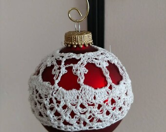 Christmas Ball ornament with crochet cover