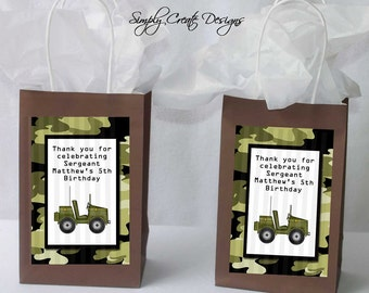 Army Party Favor Tag Camo DIGITAL FILE 4x6 Jpeg Digital File Personalized