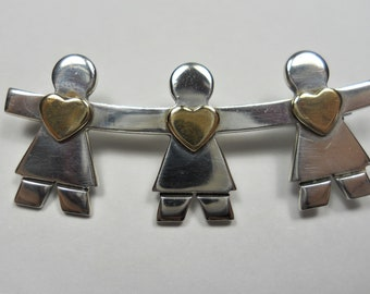 Vintage Naldo Three Girls With Hearts Sterling Silver Brooch Pin