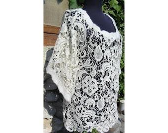 Felt Lace Blouse,Felt Tunic,Brussels Lace Blouse,European Design,White Lace Felt Dress,Merino Wool Felt Dress,Art Deco,Woman Gift ,Handmade