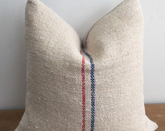 Vintage Handwoven Farmhouse Red and Navy Stripe French European Grain Sack Pillow Cover // 17 x 17