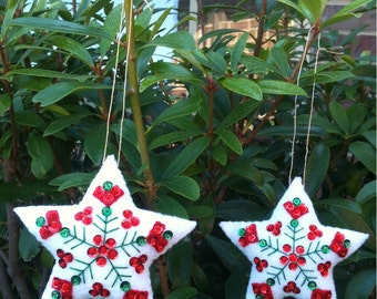 Finished Completed Felt Ornaments, Star pair, Bucilla Nordic Santa XMAS, Christmas embroidery