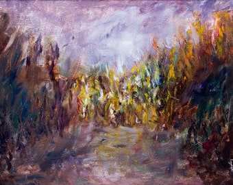 Grass Wheat - Corn Field - Plein Air Impressionism Oil Painting