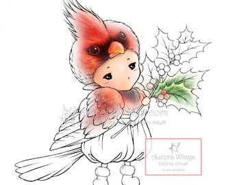 Digital Stamp - Cardinal Sprite - Instant Download - digistamp - Holiday Fantasy Line Art for Cards & Crafts by Mitzi Sato-Wiuff