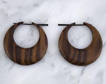 Wooden Cresent Hoop Post Earrings