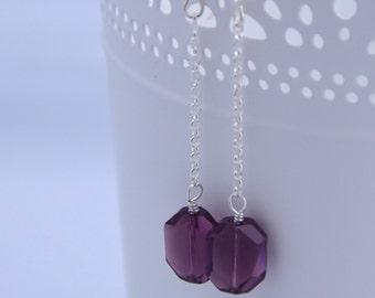 Purple Swarovski Crystal Earrings (Gemstone-Shaped Crystal)