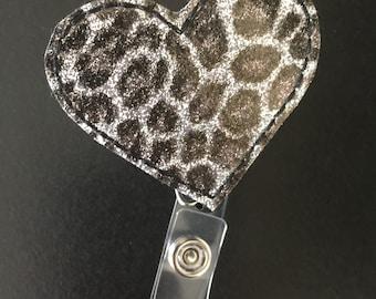 Cute Metallic Cheetah Heart Badge ID Reel