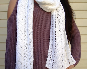 Scarf - White Lacy Long Scarf Knitted in 100 Per Cent Cotton Soft and Cozy Scarf