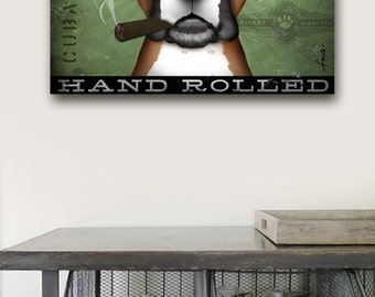Boxer dog Cigar Company advertising style artwork on gallery wrapped canvas design by stephen fowler