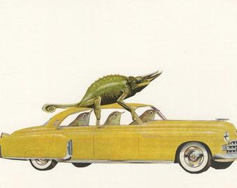 Unwelcome passenger.  Original collage by Vivienne Strauss.
