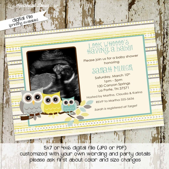 gender reveal invitation Owl baby shower neutral ultrasound photo pregnancy announcement baptism picture couples coed | 1428 Katiedid Design