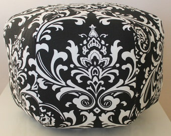 Damask Floor pouf,  Floor pillow, foot stool, Moroccan pouf,  Floor cushion, Ottoman Pouf, Black Damask