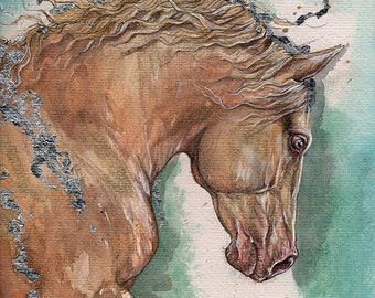 palomino horse original gilded pen and watercolours painting