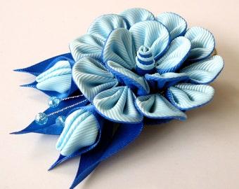 Kanzashi fabric flower hair clip, Blue fabric flower. Blue kanzashi flower. Blue hair clip.