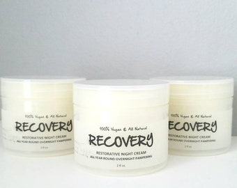 Night Cream. Recovery Restorative Face Cream. All Year Overnight Treatment. All Natural. 100% Vegan