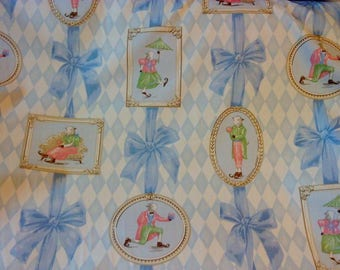 Forget Me Not Kid Sheep Blue Cotton Printed Fabric, Home Decor Decorative