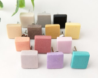 Square stud earrings, Square studs, Post earrings, Minimalist earrings, Square earrings, Air dry clay, Tiny studs, Natural, Choose a color