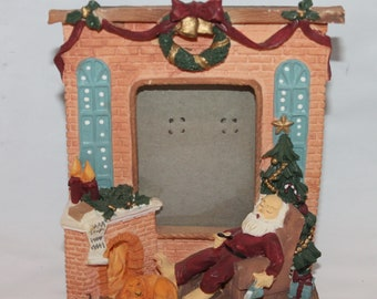 Sleeping Santa By Fireplace Small Picture Frame