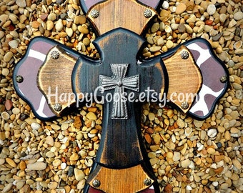 Wall Cross - Wood Cross - X-Small - Giraffe Print with Antiqued Stain and Black