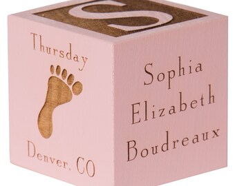 Custom baby gifts etsy personalized baby block custom baby cube engraved baby cube wooden baby cube baby gift personalized baby negle Image collections