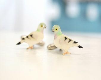 Pigeon cuff links. Bird Cufflinks. Hand drawn cuff links. Mens accessories