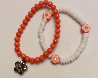 Orange Stretch Bracelet Duo