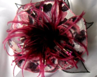Flower brooch made of fabric, organza, feathers and pearls * 239