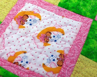 SALE Baby Shower Gift, Baby Girl Blanket, Handmade Quilt, Pink Baby Quilt