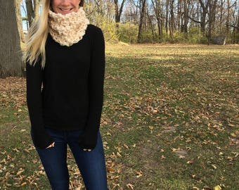 handknit cowl, ivory and gold