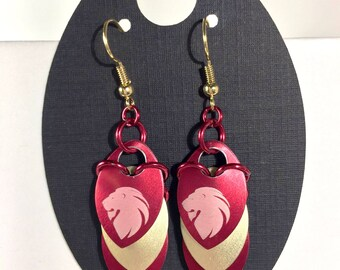 Etched House Colors Dragon Scale Earrings