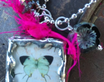 TOKEN OF LOVE/butterfly Double Sided Soldered Charm Necklace by Susan A Ray