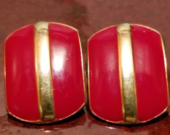 NAPIER Gold Tone and Red Enamel Pierced Vintage Earrings Signed