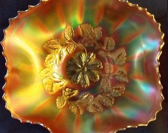 Fenton COSMOS pattern marigold #0052 carnival glass 6 Ruffles