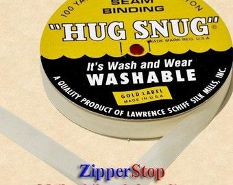 "Chalk WHITE-000 - Hug Snug Seam Binding 100-yds Roll 1/2"" Wide  - 100% Woven-Edge Rayon - Wash 'n Wear - craft ribbon, scrapbook, gift wrap"