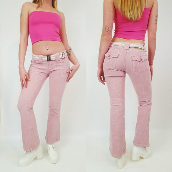 90's 2000s y2k Pink Corduroy Pants - Small Vintage Flared Pant - 1990s Low Waisted Boot Cut Pants - size 2 3 Low Waisted Pants with Belt