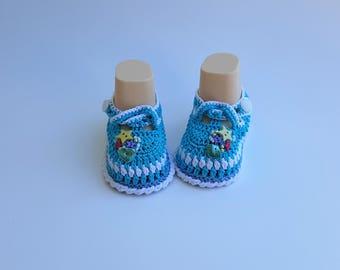 Beautiful Handmade Light Blue Baby Booties