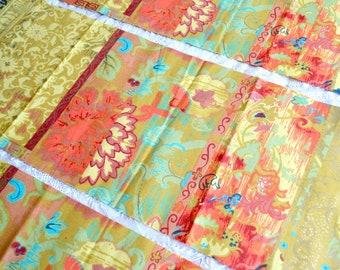 Vintage Fabric - Greeff Jasime and Jade Oriental Mosaic - 3 Remnant Panels