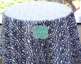 Tablecloth - Premier Prints - KIMONO Damask - Snorkel Blue White - Choose Your Size - Table Linen Wedding Home Decor Dining Kitchen