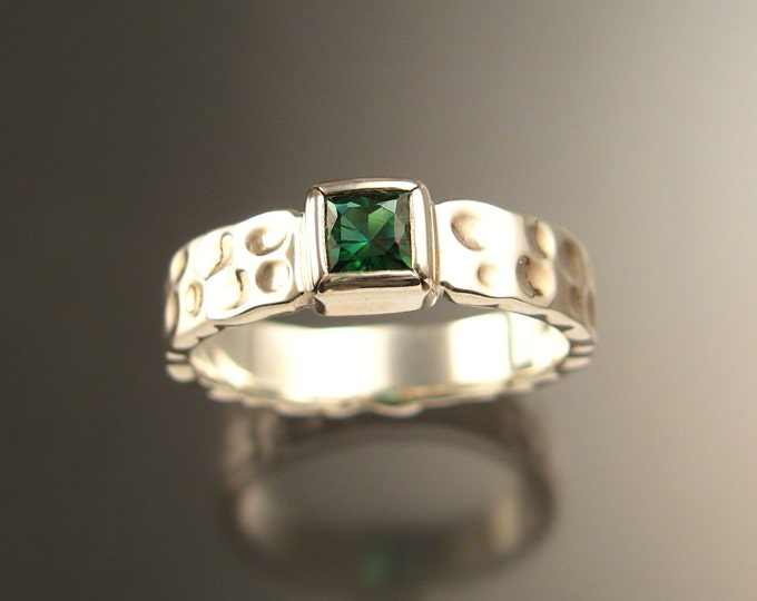Green Tourmaline square Moonscape ring Emerald substitute handcrafted in 14k white gold in your size