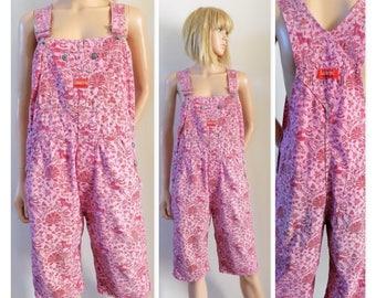 Pink red short overalls dungarees Cimarron folk art girls/womens shorts dungarees overalls small see measurements below