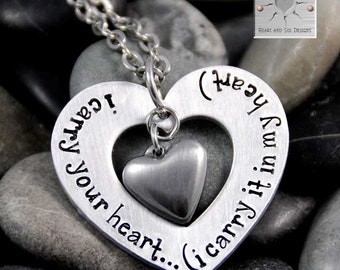 I Carry Your Heart (I Carry It In My Heart) Necklace - Hand Stamped Necklace - Mommy Necklace - Military Wife - Deployment Gift Idea