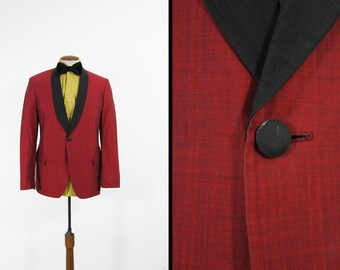 Vintage Red Tuxedo Jacket Evening 1960s Men's Satin Lapel All Cotton - Size 42 R