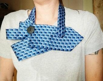 Blue necktie scarf, blue silk necktie necklace, necktie scarf, women's ascot scarf, ladies ascot necklace, upcycled necktie scarf, necktie