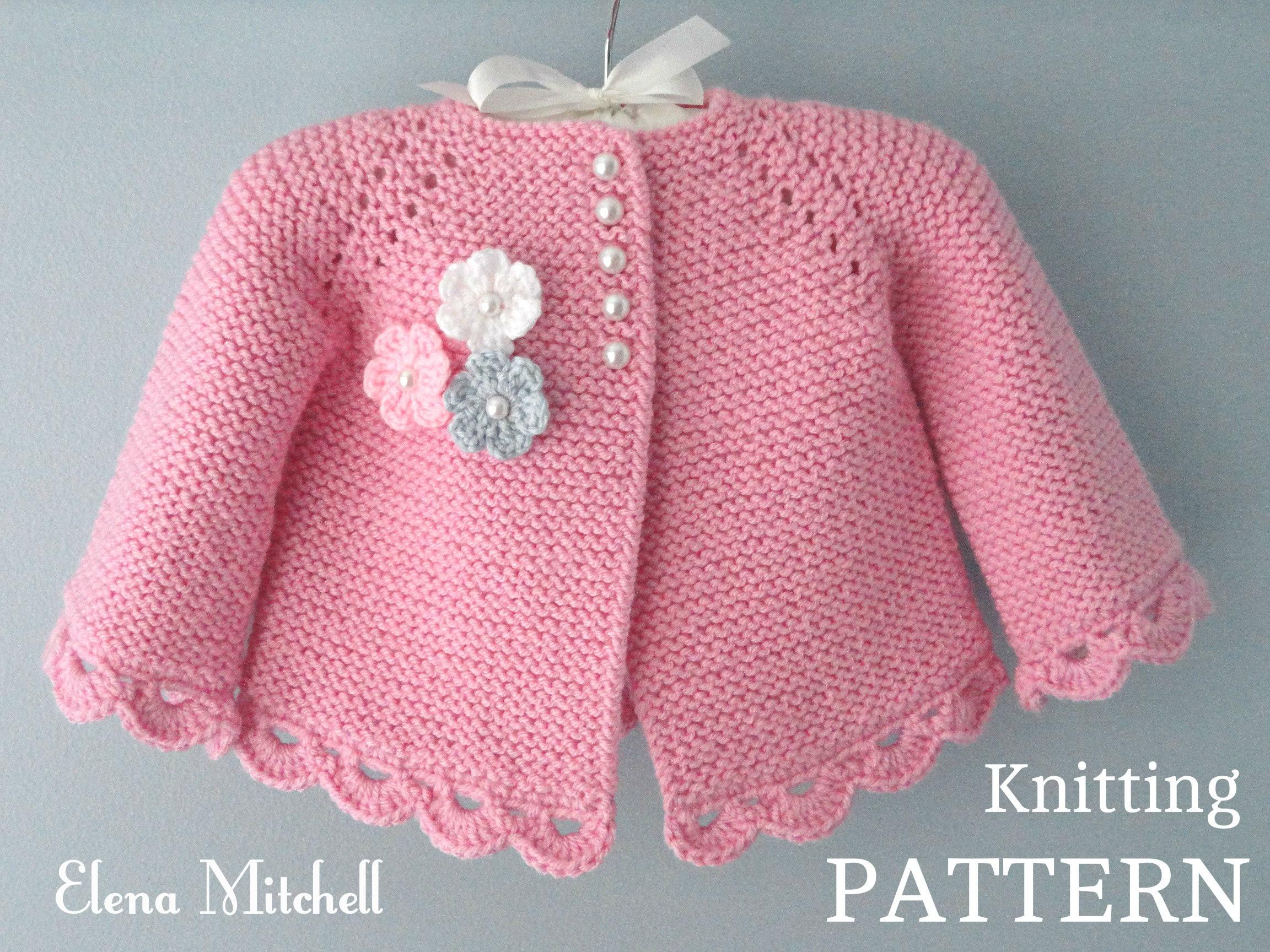 Knitting PATTERN Baby Jacket Baby Cardigan Garter stitch Knit ...