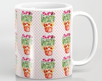 Mug, Pots of Dried Roses on a background of gray polka dots on a blush background, 11 oz and 15 oz
