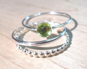 Peridot Ring, Peridot Stacking Set, Sterling silver peridot stacking rings,  gemstone stacking rings,  August Birthstone rings