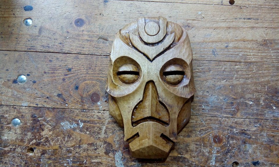 Skyrim dragon priest mask handcarved out of wood