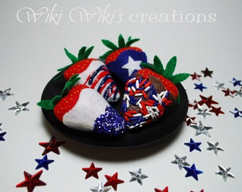 Patriotic Felt Food Chocolate Strawberries