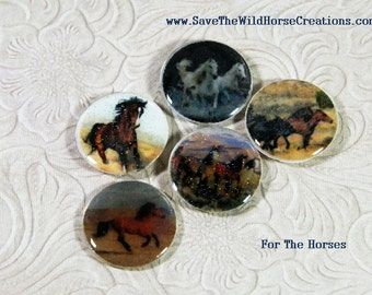 Horse Push Pins or Refrigerator Magnets, Set of 4, 6 or 10.  FOR THE HORSES.  A Great Gift Idea!